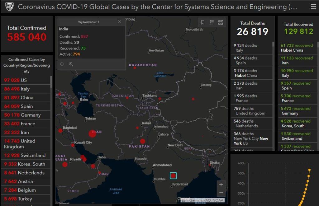Mapa zarażeń COVID-19 w Indiach - stan na 27.03.2020.